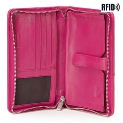 Damski portfel skórzany z kieszenią na telefon, różowy, 26-2-444-P, Zdjęcie 1