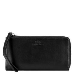 Damski portfel ze skóry duży z uchwytem, czarny, 21-1-444-1, Zdjęcie 1