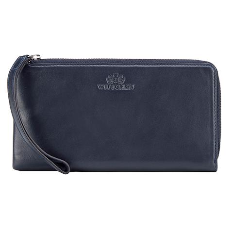 Damski portfel ze skóry duży z uchwytem, ciemny granat, 21-1-444-N, Zdjęcie 1