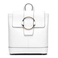 Damski skórzany plecak z metalowym kółkiem, biały, 92-4E-626-0, Zdjęcie 1