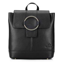 Damski skórzany plecak z metalowym kółkiem, czarny, 92-4E-626-1, Zdjęcie 1