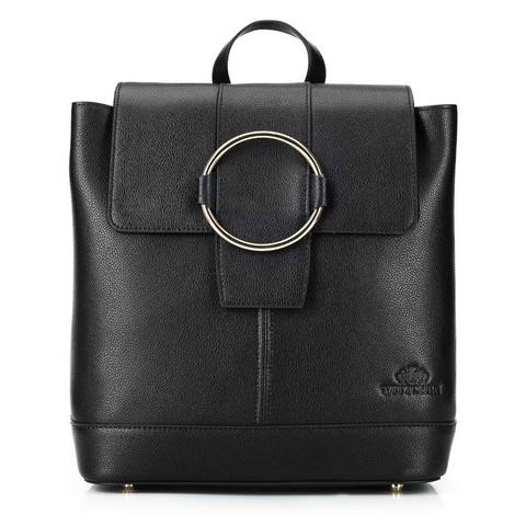 Damski skórzany plecak z metalowym kółkiem, czarny, 92-4E-626-0, Zdjęcie 1