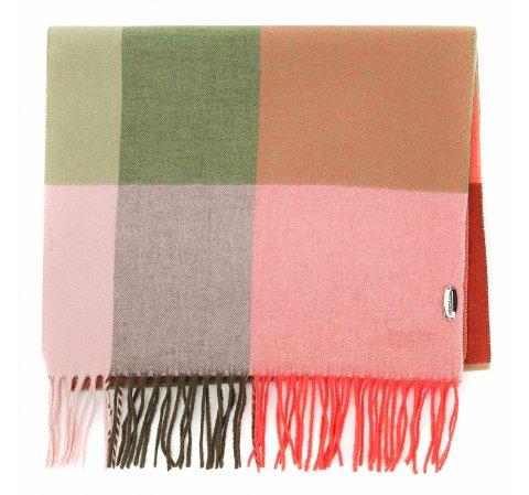 Damski szal w kratę z frędzlami, zielono - różowy, 91-7D-X02-X1, Zdjęcie 1