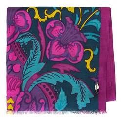 Damski szal z wiskozy wzorzysty, zielono - fioletowy, 91-7D-X21-X1, Zdjęcie 1