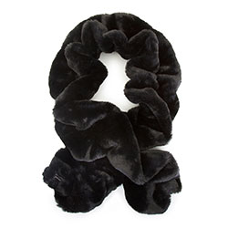 Women's ruched faux fur scarf, black, 93-7F-001-1, Photo 1