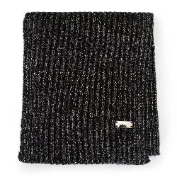 Damski szalik z metaliczną nicią, czarno - srebrny, 93-7F-005-1, Zdjęcie 1