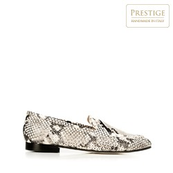 Women's leather loafers with a snakeskin pattern, grey-black, 92-D-109-1-41, Photo 1