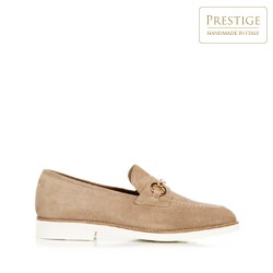 Suede loafers with a white sole, beige, 92-D-120-9-37_5, Photo 1