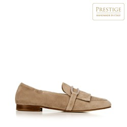 Women's suede loafers with fringe detailing, beige, 92-D-115-9-36, Photo 1