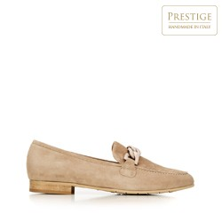 Women's suede loafers with chain strap detail, beige, 92-D-122-9-37_5, Photo 1
