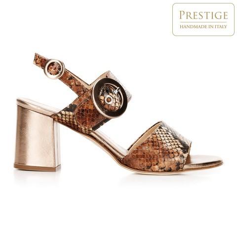 Damskie sandały na słupku ze skóry w wężowy wzór, brązowo - złoty, 92-D-126-5-39_5, Zdjęcie 1