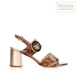 Damskie sandały na słupku ze skóry w wężowy wzór, brązowo - złoty, 92-D-126-5-40, Zdjęcie 1