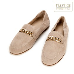 Women's suede loafers with chain strap detail, beige, 92-D-124-9-40, Photo 1
