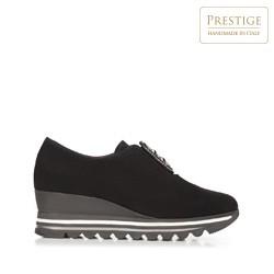 Damskie sneakersy metaliczne na platformie, czarny, 92-D-656-1-39, Zdjęcie 1