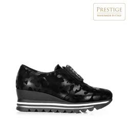 Damskie sneakersy metaliczne na platformie, czarno - srebrny, 92-D-656-S-35, Zdjęcie 1