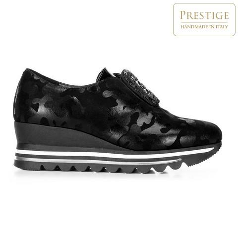 Damskie sneakersy metaliczne na platformie, czarno - srebrny, 92-D-656-1-36, Zdjęcie 1