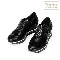 Damskie sneakersy metaliczne na platformie, czarno - srebrny, 92-D-656-S-38, Zdjęcie 1