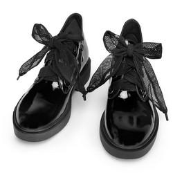 Damskie półbuty ze skóry lakierowanej ze wstążką, czarny, 93-D-956-1-40, Zdjęcie 1