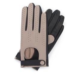 Damskie rękawiczki skórzane dwukolorowe, beżowo - czarny, 46-6-310-A-X, Zdjęcie 1