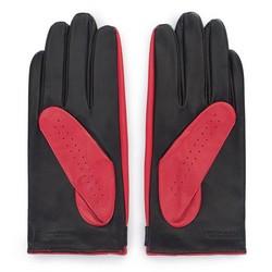 Damskie rękawiczki skórzane dwukolorowe, czerwono - czarny, 46-6-310-3-M, Zdjęcie 1