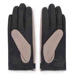 Damskie rękawiczki skórzane dwukolorowe, beżowo - czarny, 46-6-310-A-S, Zdjęcie 1