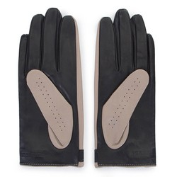 Damskie rękawiczki skórzane dwukolorowe, beżowo - czarny, 46-6-310-A-V, Zdjęcie 1