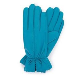 Damskie rękawiczki skórzane z falbanką, turkusowy, 39-6-646-TQ-L, Zdjęcie 1
