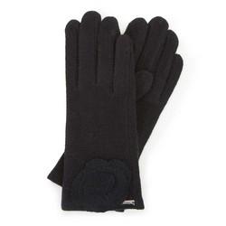 Damskie rękawiczki wełniane z rozetką, czarny, 47-6-X90-1-U, Zdjęcie 1
