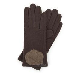 Damskie rękawiczki wełniane z rozetką, Brązowy, 47-6-X90-4-U, Zdjęcie 1