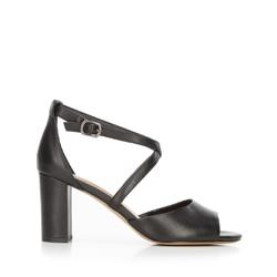 Damskie sandały skórzane na słupku, czarny, 92-D-956-1-36, Zdjęcie 1