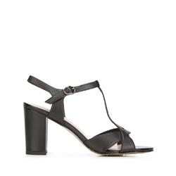 Damskie sandały ze skóry na słupku, czarny, 92-D-958-1-40, Zdjęcie 1