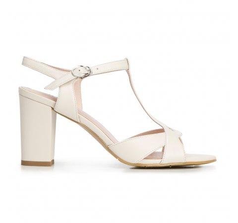 Damskie sandały ze skóry na słupku, kremowy, 92-D-958-9-40, Zdjęcie 1