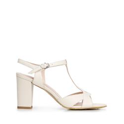 Damskie sandały ze skóry na słupku, kremowy, 92-D-958-9-41, Zdjęcie 1