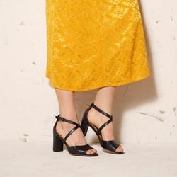 Damskie sandały skórzane na słupku, czarny, 92-D-956-1-35, Zdjęcie 1