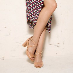 Damskie sandały skórzane na słupku, beżowo - srebrny, 92-D-956-5-37, Zdjęcie 1