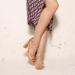 Damskie sandały skórzane na słupku, beżowo - srebrny, 92-D-956-5-39, Zdjęcie 1