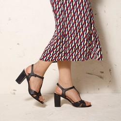Damskie sandały ze skóry na słupku, czarny, 92-D-958-1-35, Zdjęcie 1