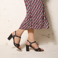 Damskie sandały ze skóry na słupku, czarny, 92-D-958-1-39, Zdjęcie 1
