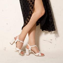 Damskie sandały ze skóry na słupku, kremowy, 92-D-958-9-38, Zdjęcie 1