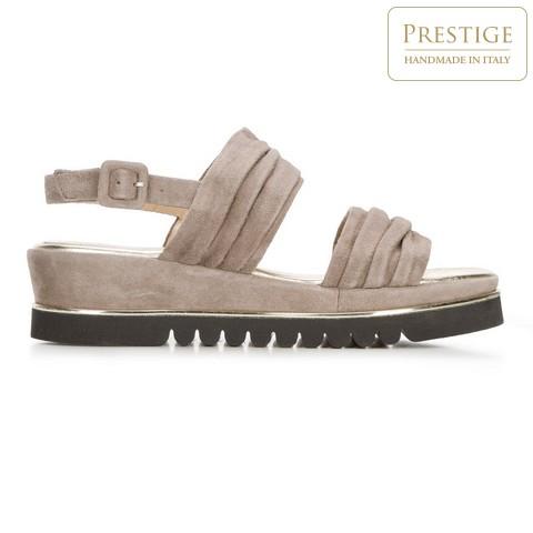 Damskie sandały z marszczonego zamszu, beżowy, 92-D-112-8-37, Zdjęcie 1