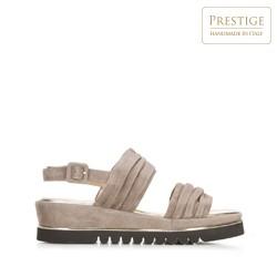 Damskie sandały z marszczonego zamszu, beżowo - srebrny, 92-D-112-8-40, Zdjęcie 1