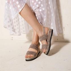Damskie sandały z marszczonego zamszu, beżowo - srebrny, 92-D-112-8-36, Zdjęcie 1