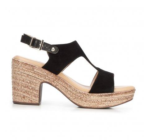 Damskie sandały z nubuku na koturnie, czarny, 92-D-961-4-36, Zdjęcie 1