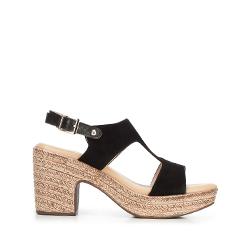 Damskie sandały z nubuku na koturnie, czarny, 92-D-961-1-40, Zdjęcie 1