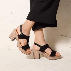 Damskie sandały z nubuku na koturnie, czarny, 92-D-961-1-38, Zdjęcie 1