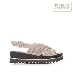 Damskie sandały zamszowe na platformie, beżowo - srebrny, 92-D-113-8-39_5, Zdjęcie 1
