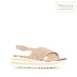 Damskie sandały zamszowe na platformie w paski, beżowo - biały, 92-D-118-9-37, Zdjęcie 1