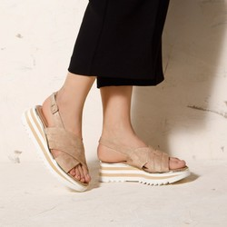 Damskie sandały zamszowe na platformie w paski, beżowo - biały, 92-D-118-9-35, Zdjęcie 1