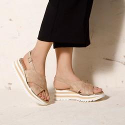 Damskie sandały zamszowe na platformie w paski, beżowo - biały, 92-D-118-9-36, Zdjęcie 1