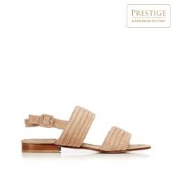 Damskie sandały zamszowe pikowane, beżowy, 92-D-121-9-38_5, Zdjęcie 1